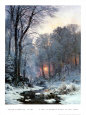 Twilit Wooded River in the Snow Art Print by Anders Andersen-Lundby