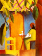 Turkish Cafe II Kunsttryk af Auguste Macke