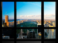 Window View, Special Series, Central Park, Sunset, Manhattan, New York, United States Fotografisk tryk af Philippe Hugonnard