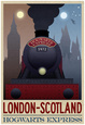 London- Scotland Hogwarts Express Retro Travel Poster Plakát
