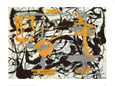 Yellow, Grey, Black Art Print by Jackson Pollock