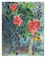 Flowers and Lovers Art Print by Marc Chagall