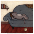 Lounging Cat Art Print by Helga Sermat