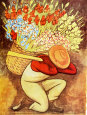El Vendedora De Flores Kunsttryk af Diego Rivera