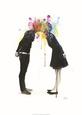 Big Bang Kiss Kunsttryk af Lora Zombie