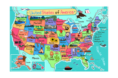 Map Art Print By Jasper Johns At Artcom - Us map cartoon