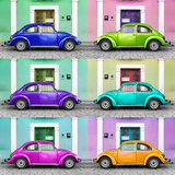 !Viva Mexico! Square Collection - VW Beetle Cars with Color Facades