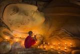 Myanmar, Bagan. Young Monk at Shinbinthalyaung Temple Reclining Buddha