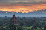 Myanmar, Bagan. Sunrise over Stupas on the Plains of Bagan