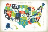 Letterpress USA Map
