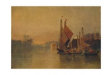 View from Yarmouth Bridge, Norfolk, Looking towards Breydon, Just after Sunset, c1823