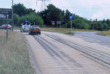 Tyre skidmarks on road surface