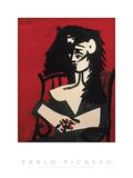 Jacqueline a Mantille Sur Fond Rouge