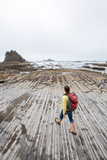 Bekah Herndon Walks Along Rock Formations During Day Hike On Rialto Beach, Olympic NP, Washington