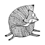 Stylized Fox. Forest Animals. Cute Fox. Line Art. Black and White Drawing by Hand. Graphic Arts. Ta
