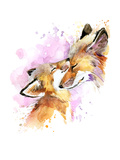 Fox and Baby. Watercolor Illustration. Motherhood Background