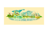 Water Color Panoramic Vector Singapore View