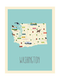 Washington Blue Map