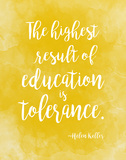 Tolerance - Helen Keller Diversity Quote Poster