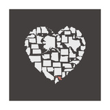 Black USA Heart Graphic Print Featuring Maryland