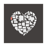 Black USA Heart Graphic Print Featuring Mississippi