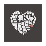 Black USA Heart Graphic Print Featuring North Carolina