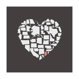 Black USA Heart Graphic Print Featuring Indiana