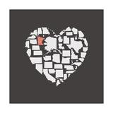 Black USA Heart Graphic Print Featuring Minnesota