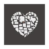 Black USA Heart Graphic Print Featuring Massachussetts