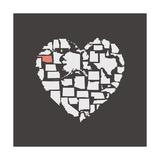 Black USA Heart Graphic Print Featuring Oklahoma