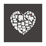 Black USA Heart Graphic Print Featuring New Hampshire