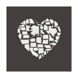 Black USA Heart Graphic Print Featuring New Jersey