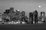 USA, Massachusetts, Boston, Panoramic view of a city skyline at night (Black And White)