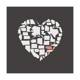 Black USA Heart Graphic Print Featuring Nebraska