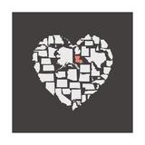Black USA Heart Graphic Print Featuring Lousiana