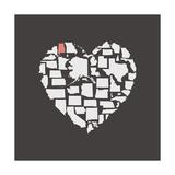 Black USA Heart Graphic Print Featuring Alabama