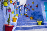 North Africa, Morocco, Traiditoional blue streets of Chefchaouen.