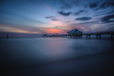 Long exposure of Clearwater Beach Pier, Florida. At sunset