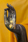 Thailand. Buddha Statue hand with gold leaf tokens.