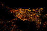 Night time satellite image of Barcelona, Spain