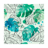 Tropical Watercolor Leaf Pattern