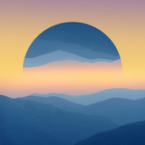 Sunrise over Mountains Silhouettes - Geometric Reflections Effect