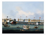 View of the Waterfront at Canton with American, Dutch and British Factories, Chinese School, 1850