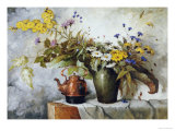 Cornflowers, Daisies and Other Flowers in a Vase by a Kettle on a Ledge