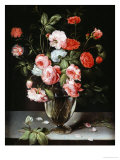 Roses and Carnations in a Glass Vase on a Stone Ledge