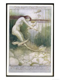 """Mermaid and Fish, Illustration to Schubert's """"""""Die Forelle"""""""", The Trout"""