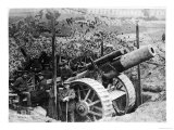 British Gun Emplacement on the Western Front: a Howitzer Camouflaged Under Netting