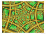 Abstract Web-Like Fractal Patterns on Green Background