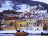 Snow-Covered Houses on Kampa Island on Banks of Vltava River, Prague, Czech Republic