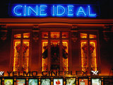 Facade of the Historic Building of the Cine Ideal, at Night, Madrid, Spain